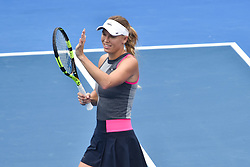 January 6, 2018 - Auckland, Auckland, New Zealand - Caroline Wozniacki of Denmark celebrates wining in her Quarter-final match against Sofia Kenin of USA during the WTA Women's Tournament at ASB Centre Count in Auckland, New Zealand on Jan 6, 2018. She defeats Sofia Kenin in three set clash to advance to the Semi-final. (Credit Image: © Shirley Kwok/Pacific Press via ZUMA Wire)