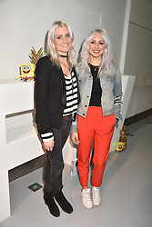 Left to right, Samantha Teasdale and Lou Teasdale at the LFW Sponge Bob Gold presentation at The Atrium, The Store Studios, 180 The Strand, London England. 18 February 2017.