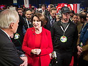 14 JANUARY 2020 - DES MOINES, IOWA: US Senator AMY KLOBUCHAR talks to MSNBC anchor CHRIS MATTHEWS at the CNN Democratic Presidential Debate on the campus of Drake University in Des Moines. This is the last debate before the Iowa Caucuses on Feb. 3.    PHOTO BY JACK KURTZ