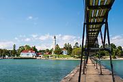 Photograph of the Sturgeon Bay North Pierhead Lighthouse, Lake Michigan, Sturgeon Bay, Wisconsin, USA.