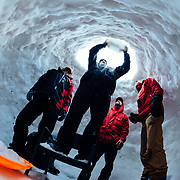 People build an igloo outside of the Hostel property in Teton Village, Wyoming.