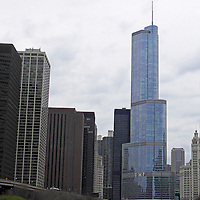 USA, Illinois, Chicago. Skyscrapers of Chicago River cruise.