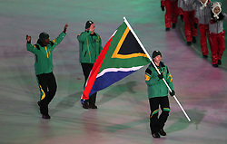South Africa flag-bearer Connor Wilson eduring the Opening Ceremony of the PyeongChang 2018 Winter Olympic Games at the PyeongChang Olympic Stadium in South Korea.