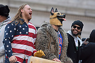 Eagles defensive tackle Beau Allen, left, and defensive end Chris Long, right, celebrate their Super Bowl LII win during a parade Feb. 8, 2018, in front of millions of fans in downtown Philadelphia, Pennsylvania. (Photo by Matt Smith)