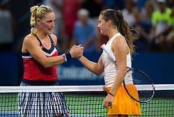 August 28, 2018 - Timea Babos of Hungary & Daria Kasatkina of Russia at the net after the first round of the 2018 US Open Grand Slam tennis tournament. New York, USA. August 28th 2018. (Credit Image: © AFP7 via ZUMA Wire)