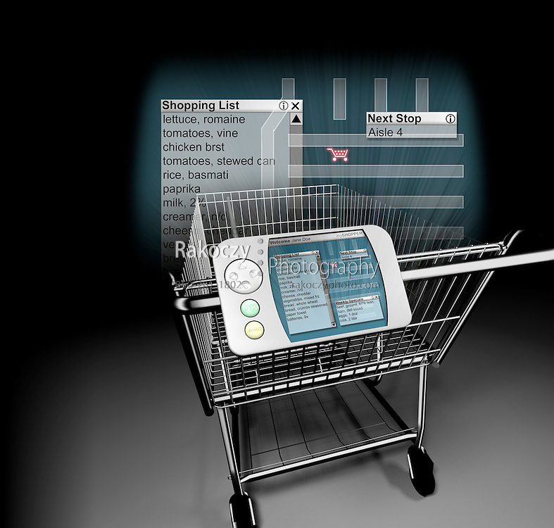"""A stylized 3D rendering of a """"smart"""" shopping cart depicting a list of items and a store map."""