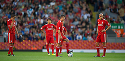 LIVERPOOL, ENGLAND - Wednesday, August 17, 2011: Liverpool's Adam Morgan and Jonjo Shelvey look dejected after conceding the first goal against Sporting Clube de Portugal during the first NextGen Series Group 2 match at Anfield. (Pic by David Rawcliffe/Propaganda)
