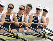 Poznan, POLAND,  GBR W8+, move away from the start in their morning heat, at the 2008 FISA World Cup. Rowing Regatta. Malta Rowing Course on Saturday, 21/06/2008. [Mandatory Credit:  Peter SPURRIER / Intersport Images] .right to left, Bow, Bet RODFORD, Carla ASHFORD, Natasha HOWARD, Natasha PAGE, Jessica-Jane EDDIE, Rowing Course:Malta Rowing Course, Poznan, POLAND