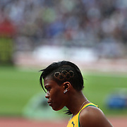Nickiesha Wilson, Jamaica in action in the Women's 400m Hurdles heats at the Olympic Stadium, Olympic Park, Stratford at the London 2012 Olympic games. London, UK. 5th August 2012. Photo Tim Clayton