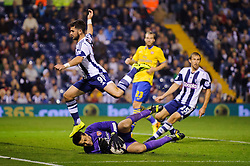 West Brom Forward Shane Long is beaten to the ball by Arsenal Goalkeeper Lukasz Fabianski (POL) who makes Arsenal save during the second half of the match - Photo mandatory by-line: Rogan Thomson/JMP - Tel: 07966 386802 - 25/09/2013 - SPORT - FOOTBALL - The Hawthorns - West Bromwich Albion v Arsenal - Capital One Cup Round 3.