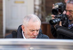© Licensed to London News Pictures. 26/03/2018. London, UK. Leader of the Labour Party JEREMY CORBYN is seen surrounded by media as he leaves his London home. Corbyn has publicly apologised for 'pockets' of anti-Semitism within Labour Party following a row over his apparent support for an anti-Semitic mural. Photo credit: Ben Cawthra/LNP