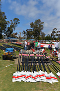 San Diego, California. USA.  General Views of the Boat Storage and Beach boating area. crews at the 2013 Crew Classic Regatta, Mission Bay.  06:28:19.  Saturday  06/04/2013   [Mandatory Credit. Peter Spurrier/Intersport Images]  ..