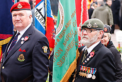 © under license to London News Pictures. 14/11/2010. Veteran Standard Bearers stand to attention in the centre of Birmingham on Remeberance Sunday. Photo credit should read Jason Patel/London News Pictures