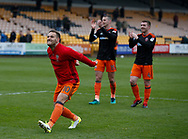 Billy Sharp of Sheffield Utd celebrates with the fans during the English League One match at Vale Park Stadium, Port Vale. Picture date: April 14th 2017. Pic credit should read: Simon Bellis/Sportimage