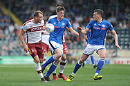 Bradford City forward Charlie Wyke (9)  goal scorer battles for possession  during the EFL Sky Bet League 1 match between Rochdale and Bradford City at Spotland, Rochdale, England on 21 April 2018. Picture by Mark Pollitt.
