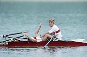Barcelona Olympics 1992 - Lake Banyoles, SPAIN, GER W2X, bow, KÖPPEN, Kerstin / BORON, Kathrin, Gold Medallist, Photo: Peter Spurrier