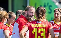 AMSTELVEEN -  coach Adrian Lock (Spa)  tijdens de dames -wedstrijd voor de derde plaats ,  Belgie-Spanje (3-1) bij het  EK hockey , Eurohockey 2021. Belgie wint brons. COPYRIGHT KOEN SUYK
