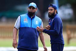 England's Adil Rashid (right) with spin bowling consultant Saqlain Mushtaq during a nets session at Edgbaston, Birmingham.