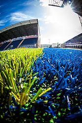 Picture of the new plastic pitch at The Falkirk Stadium, for the Scottish Championship game v Hamilton. The woven GreenFields MX synthetic turf and the surface has been specifically designed for football with 50mm tufts compared with the longer 65mm which has been used for mixed football and rugby uses.  It is fully FFA two star compliant and conforms to rules laid out by the SPL and SFL.<br /> ©Michael Schofield.