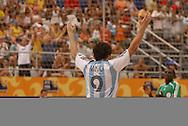 Football-FIFA Beach Soccer World Cup 2006 - Group D-ARG_NGA - Opening match of the Beachsoccer World Cup 2006. Facundo Minici-ARG celebrates his goal- Rio de Janeiro - Brazil 02/11/2006<br />Mandatory credit: FIFA/ Marco Antonio Rezende.