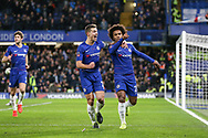 GOAL - Chelsea Midfielder Willian celebrates scoring a  penalty 1-0 during the The FA Cup fourth round match between Chelsea and Sheffield Wednesday at Stamford Bridge, London, England on 27 January 2019.