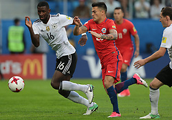 July 2, 2017 - Saint Petersburg, Russia - Martin Rodriguez (L) of the Germany national football team and Charles Aranguiz of the Chile national football team vie for the ball during the 2017 FIFA Confederations Cup final match between Chile and Germany at Saint Petersburg Stadium on July 02, 2017 in St. Petersburg, Russia. (Credit Image: © Igor Russak/NurPhoto via ZUMA Press)
