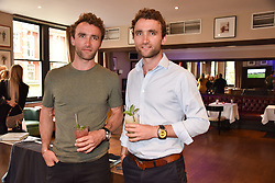 The Turner Twins Hugo & Ross Turner at The Tribe Syndicate launch party hosted by Highclere Thoroughbred Racing at Beaufort House, 354 King's Rd, London England. 25 April 2018.