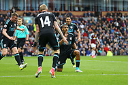 Salomon Rondon of West Bromwich Albion (c) celebrates with his teammates after scoring his teams 1st goal to make it 1-1. Premier League match, Burnley v West Bromwich Albion at Turf Moor in Burnley , Lancs on Saturday 6th May 2017.<br /> pic by Chris Stading, Andrew Orchard sports photography.
