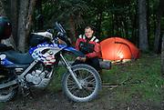 James Pratt camping with BMW F650 GS Dakar near Lake City, Colorado