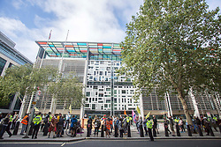 ©️ Licensed to London News Pictures. 09/09/2020. London, UK. Members of the Extinction Rebellion (XR) environmental campaign group gather outside Home Office in central London to blockade Parliament. XR disrupted areas of central London with actions over the last two weeks, until MP's back the Climate and Ecological Emergency Bill and prepare for crisis with a National Citizens' Assembly. Photo credit: Marcin Nowak/LNP