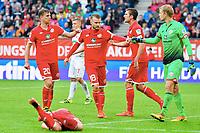 v.l. Fabian Frei, Daniel Brosinski, Stefan Bell, Torwart Jonas Loessl (Mainz)<br /> Augsburg, 18.09.2016, Fussball Bundesliga, FC Augsburg - FSV Mainz 05<br /> Norway only
