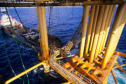 Stock photo of a view of an oil rig from the bottom of a jack up rig