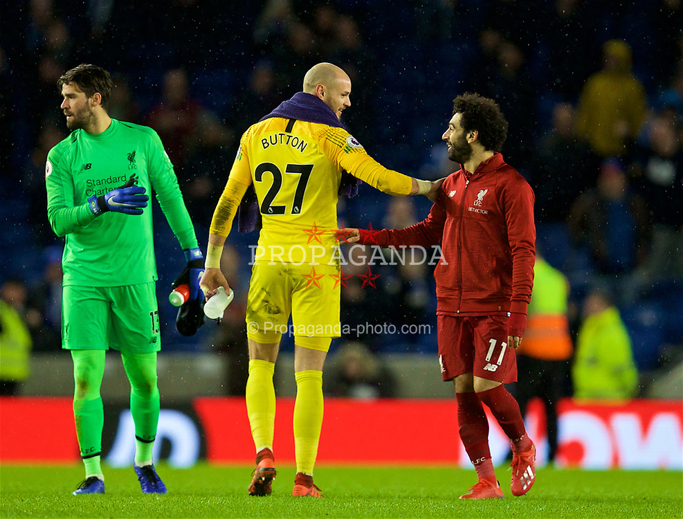 BRIGHTON AND HOVE, ENGLAND - Saturday, January 12, 2019: Brighton & Hove Albion's goalkeeper David Button (L) and Liverpool's Mohamed Salah (R) speak after the FA Premier League match between Brighton & Hove Albion FC and Liverpool FC at the American Express Community Stadium. Liverpool won 1-0. (Pic by David Rawcliffe/Propaganda)