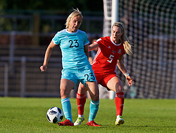 NEWPORT, WALES - Tuesday, June 12, 2018: Russia's Elena Morozova (left) and Wales' Rhiannon Roberts during the FIFA Women's World Cup 2019 Qualifying Round Group 1 match between Wales and Russia at Newport Stadium. (Pic by David Rawcliffe/Propaganda)