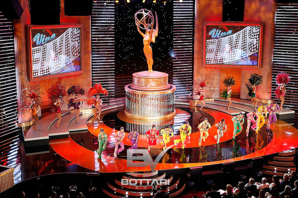 Cast members from the 'Viva ELVIS' by Cirque du Soleil show perform onstage during the Daytime Emmy Awards on Sunday June 19, 2011 in Las Vegas. (AP Photo/Jeff Bottari)