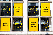 Window signs for a foster care agency, Network Recruitment Solutions, in London, United Kingdom.