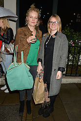 Left to right, SOPHIE ROPER-CURZON and WILLOW MURPHY at a private view of William Roper-Curzon's latest paintings held at Julian Hartnoll, 37 Duke Street, St.James's, London on 9th October 2014.