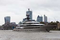 © Licensed to London News Pictures. 30/10/2018. London, UK.  The 308 feet long luxury superyacht Kismet, reportedly owned by Pakistani-American billionaire, Shahid Khan, leaving London on the River Thames today and believed to be heading for Jacksonville in the United States of America following a week long London visit. Mr Khan owns the National Football League (NFL) team, the Jacksonville Jaguars, who played the Philadelphia Eagles in an International Series game at Wembley on Sunday 28th October. Kismet has 6 staterooms, with the master bedroom having its own private deck with jacuzzi and helipad..  Photo credit: Vickie Flores/LNP