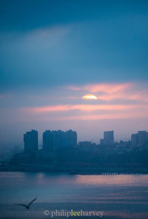 Dawn over skyline and sea Valparaiso, Chile