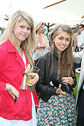Amelia Bamberger and Tilly Standing, Cartier International Polo. Guards Polo Club. Windsor Great Park. 29 July 2007.  -DO NOT ARCHIVE-© Copyright Photograph by Dafydd Jones. 248 Clapham Rd. London SW9 0PZ. Tel 0207 820 0771. www.dafjones.com.