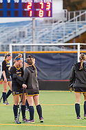 Pleasantville, New York - A Pace University field hockey player consoles a teammate after Pace lost in overtime in a Northeast-10 Conference field hockey playoff game on Oct. 31, 2017.