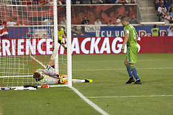 June 13, 2018 - Harrison, New Jersey, United States - Goalkeeper Stefan Frei (24) of Seattle Sounders saves on goal line during regular MLS game against New York Red Bulls at Red Bull Arena Red Bulls won 2 - 1  (Credit Image: © Lev Radin/Pacific Press via ZUMA Wire)