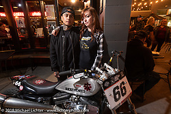 Savannah Rose with Shaun Guardado and his Harley-Davidson Hooligan racer at the Fuel Cafe Milwaukee during the Harley-Davidson 115th Anniversary Celebration event. Milwaukee, WI. USA. Thursday August 30, 2018. Photography ©2018 Michael Lichter.