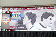 10 October 2013: Eric Wynalda introduces 2013 inductee Joe-Max Moore (not pictured). The 2013 National Soccer Hall of Fame Induction Ceremony was held on the West Plaza outside Sporting Park in Kansas City, Kansas.