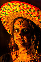 Young woman dressed as Day of the Dead character for Halloween, Littleton, Colorado USA