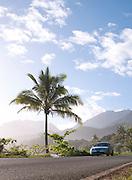 A road running past Hanalei Bay, Hanalei, Kaua'i, Hawai'i