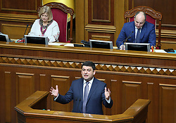 May 19, 2017 - Kiev, Ukraine - The pension reform proposed by the government will allow to eliminate the pension fund deficit within 7-10 years, said Prime Minister of Ukraine Vladimir Groysman during his speech in the Verkhovna Rada of Ukraine. Kiev, Ukraine, Friday, May 19, 2017..Previously, the IMF said that Ukraine can not postpone the implementation of a large-scale pension reform, including raising the effective retirement age. (Credit Image: © Danil Shamkin/NurPhoto via ZUMA Press)
