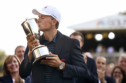 June 25, 2017 - Cromwell, CT, USA - Jordan Spieth kisses the 2017 Travelers Championship trophy after holing a bunker shot for birdie in a playoff with Daniel Berger at TPC River Highlands Sunday, June 25, 2017 in Cromwell, Conn. Spieth is the first wire to wire winner since Tim Norris won in 1982 at Wethersfield Country Club. (Credit Image: © John Woike/TNS via ZUMA Wire)