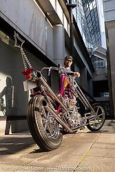 Takayuki Nakazawa with his 1944 Harley-Davidson EL Knucklehead custom at the 27th Annual Mooneyes Yokohama Hot Rod Custom Show 2018. Yokohama, Japan. Saturday, December 1, 2018. Photography ©2018 Michael Lichter.
