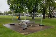 As the UKs Coronavirus pandemic lockdown continues into its 5th week, and UK deaths from Covid-19 reached 21,678 - a daily rise of 586, a landscape of a deserted Ruskin Park in Lambeth, where until now, this green space in south London has been busy with those exercising according to social distance requirements, on 28th April 2020, in London, England.